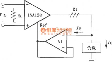Composed of INA128 differential voltage to current conversion circuit