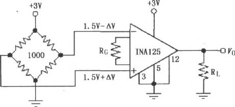Single power resistor bridge constructed by the INA125 amplifier