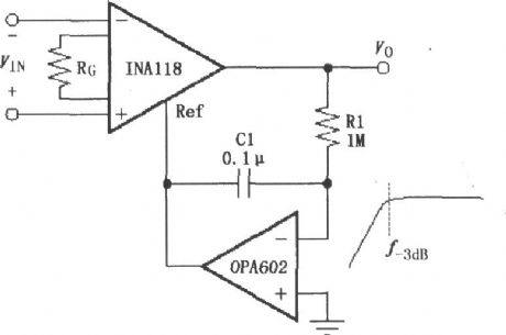 Constituted by the INA118 AC-coupled instrumentation amplifier