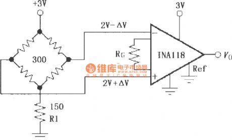 Constituted by the INA118 single supply bridge amplifier
