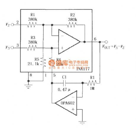 Constituted by the OPA602 feedback AC coupling circuit (INA117)
