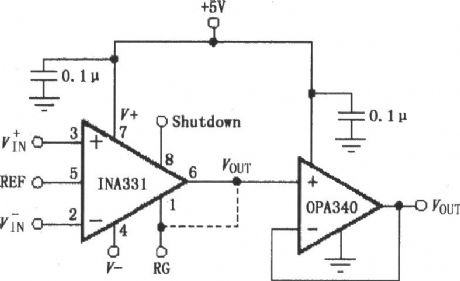 The OPA340 composed of INA331/332 output buffer circuit