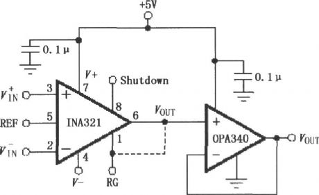 The OPA340 composed of INA321/322 output buffer circuit