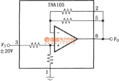 Gain for 1/2 precision amplifying circuit (INA105)