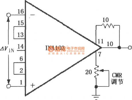 Externally adjustable CMR (common mode rejection ratio) circuit (INA103)