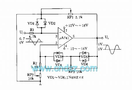 Simple trigonometric sine wave conversion circuit diagram