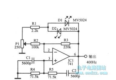 Using light emitting diode and the operational amplifier 400Hz sine wave circuit diagram