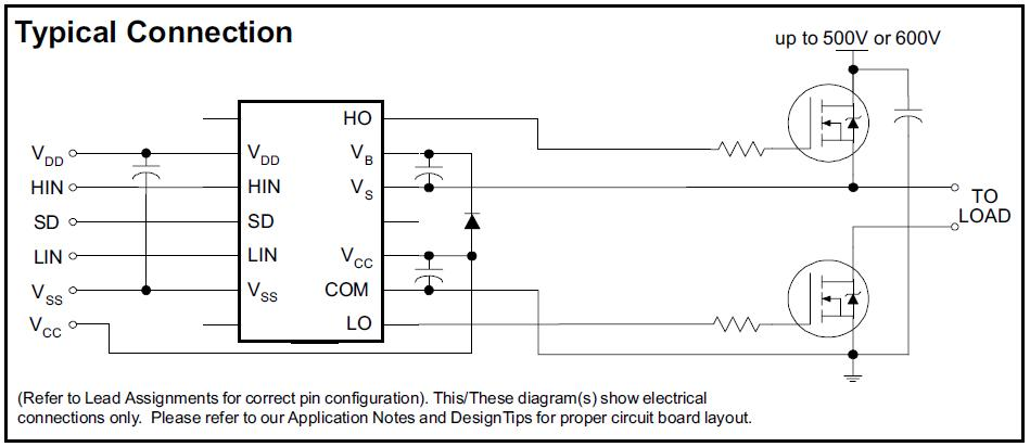 IR2110 Typical Connection diagram