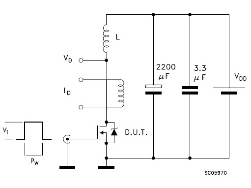 STW6NB100 Unclamped Inductive Load Test Circuit