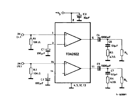 TDA2822 TYPICAL APPLICATION CIRCUIT