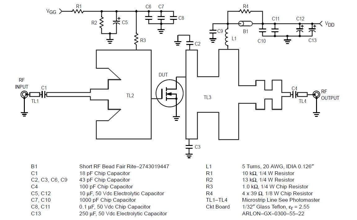 MRF184 Test Circuit Schematic