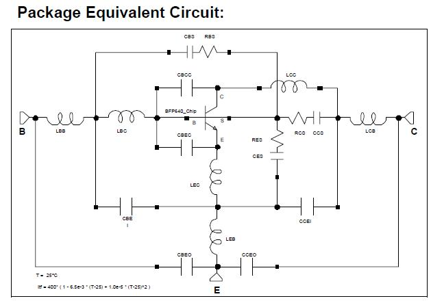 BFP640E6327 Package Equivalent Circuit
