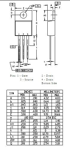 IXTP05N100 AB Dimensions