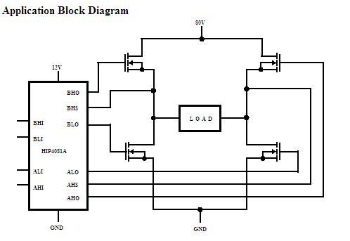 HIP4081AIP Application Block Diagram