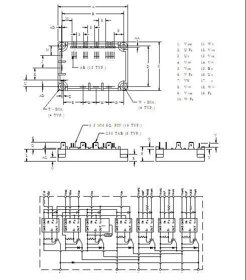 PM25RSB120 Outline Drawing and Circuit Diagram