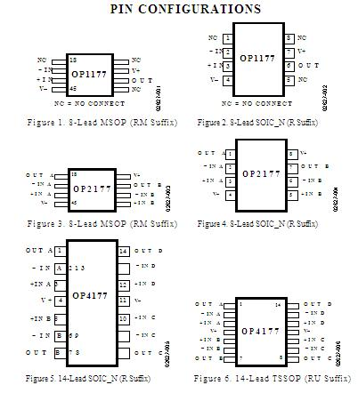OP1177ARZ PIN CONFIGURATIONS