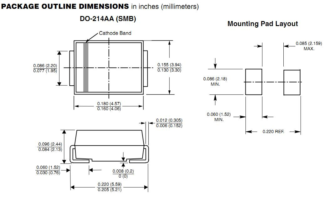 P6SMB10CA package outline dimension