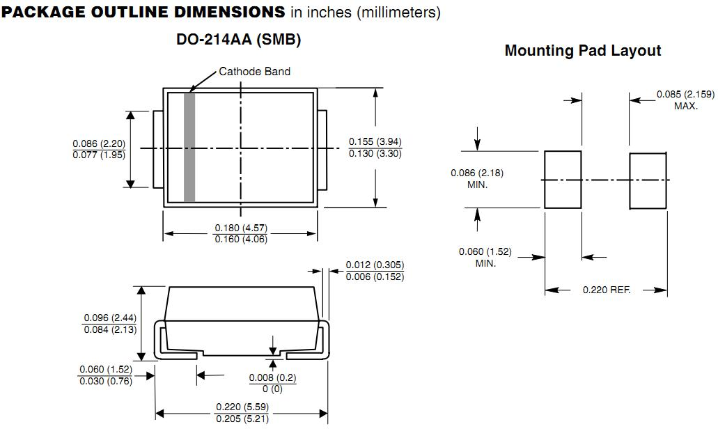 P6SMB7.5CA package outline dimension