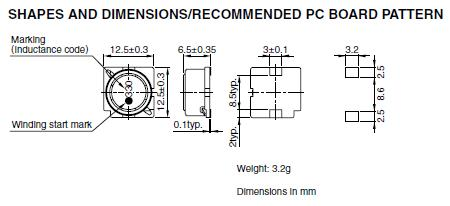 SLF12565T-101M1R6-PF shapes and dimensions