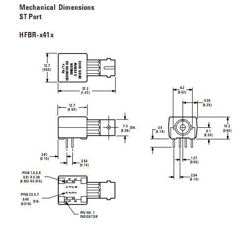 HFBR-1414T dimensions