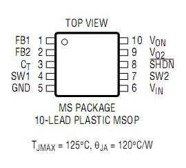 LT1947EMS#TR Pin Configuration