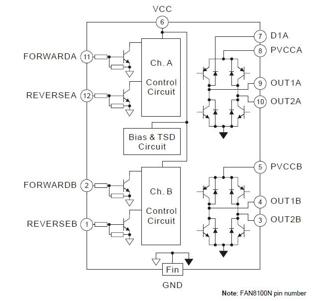 FAN8100N pin connection