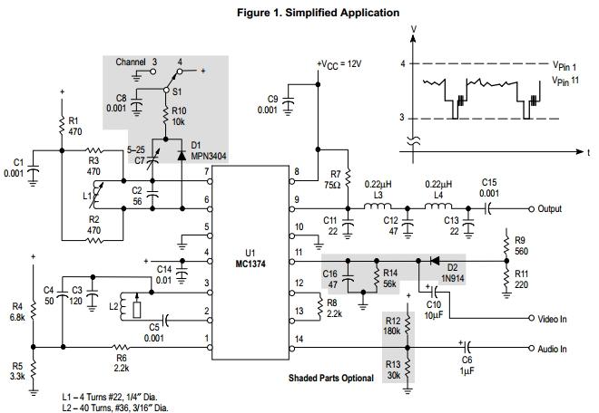 MC1374P pin connection